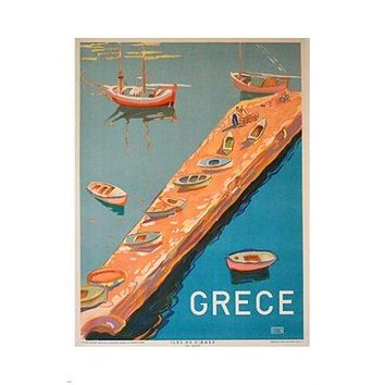 GREECE vintage travel poster MEDITERRANEAN colorful BOATS 24X36 prized