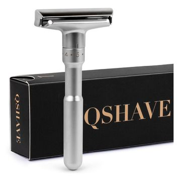 QSHAVE Adjustable Safety Razor Double Edge Classic Mens Shaving Mild to Aggressive 1-6 Files Hair Removal Shaver with 5 Blades