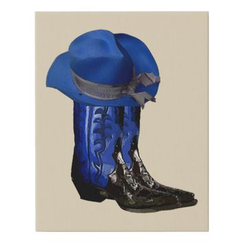 Blue cowboy cowgirl boots hat western art faux canvas print