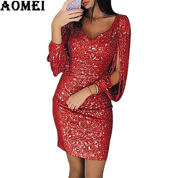 2019 Women Long Sleeve Shiny Sequin Dress Elegant Sexy Dress Fem 2c71e3689081