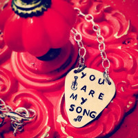 You Are My Song Hand Stamped Necklace - guitar pick jewelry