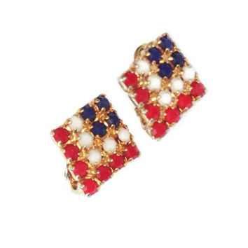 Red White and Blue Earrings Opaque Beads Clip On Patriotic Vintage