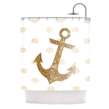 "Nika Martinez ""Glitter Anchor"" Gold Sparkles Shower Curtain"