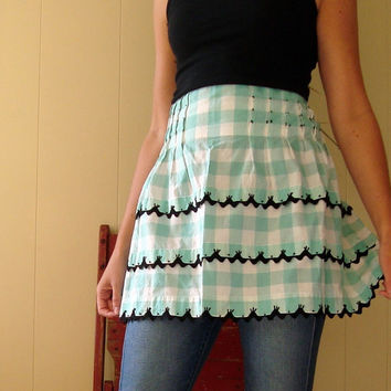 $15.00 Vintage Aqua and White Gingham Check Half Apron by SundayAfternoon