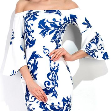Streetstyle  Casual Bell Sleeve Off Shoulder Blue And White Porcelain Printed Bodycon Dress