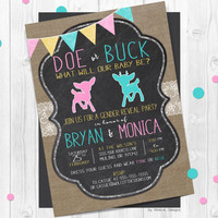 Buck or doe gender reveal invitations, doe  or buck, gender announcement, country rustic, burlap, chalkboard, gender neutral, gender reveal