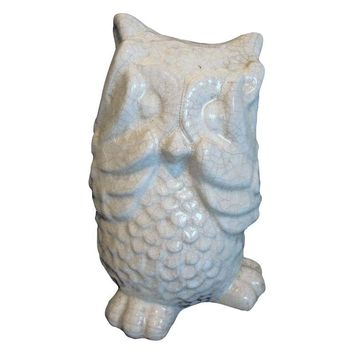 Pre-owned Crackle Glazed Ceramic Owl