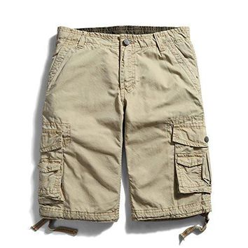 Men's Cotton Shorts Loose Fit Multi Pocket Cargo Shorts