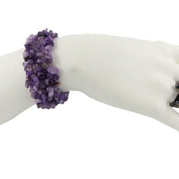 Set of Handmade seed bead and Amethyst rock Bracelet and Ring