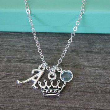 Princess Necklace, Princess Crown Necklace, Personalized Princess Necklace, Royal Necklace, Queen, Custom Letter Birthstone, Silver, CLCB