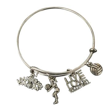 Volleyball Mom Bangle Bracelet