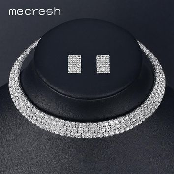 Mecresh Classic 3 Row Circle Wedding Jewelry Sets Silver Color Crystal Rhinestone Choker Necklace Sets Christmas Gift TL003