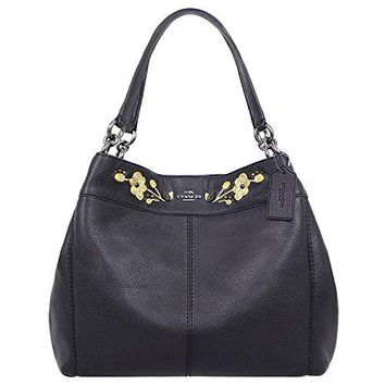 COACH LEXY SHOULDER BAG IN PEBBLE LEATHER WITH FLORAL EMBROIDERY F11873