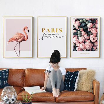 Nordic Pink Flamingos Flowers With Quote n Sea Canvas Painting Posters And Print Wall Art Picture For Living Room Bedroom Studio