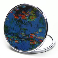 Waterlilies Purse Handbag Cosmetic Magnification Mirror by Monet Parastone 2.75W
