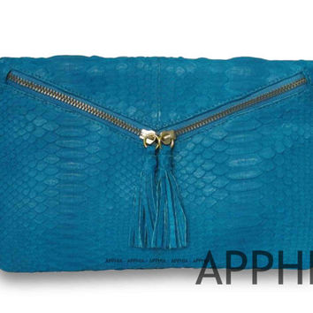 Genuine Exotic Python Clarissa Clutch in Blue Turquoise/Yellow