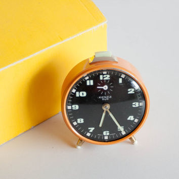 German Alarm Clock, Vintage Mechanical Clock, Desk Clock, Black Bright Orange Yellow, Modern Home Decor