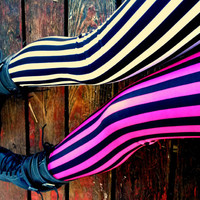 Split leg Psycho circus stripe Leggings pants lycra