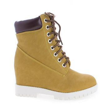 Bradley Wheat White By Shoe Republic, Lace Up Hidden High Wedge Heel Fashion Ankle Boots