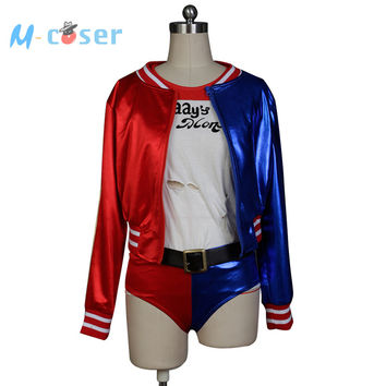 Batman Joker Suicide Squad Harley Quinn Uniform Daddy's Lil Monster Jacket Shorts T Shirt Halloween Cosplay Costumes For Women