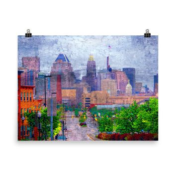 Baltimore Skyline from Johns Hopkins Hospital, Limited Edition Museum Quality Poster Print