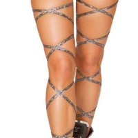 "Silver 100"" Broken Glass Iridescent Leg Wraps"