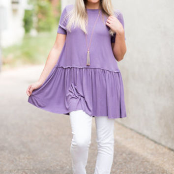 Feeling Social Top, Lilac Gray