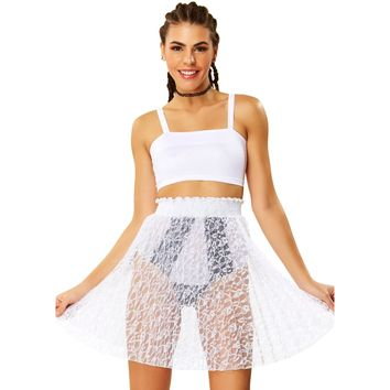 Sheer Genius White Lace Skirt