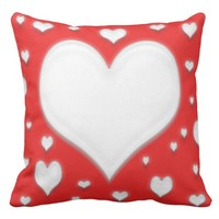 White heart's on a cotton throw pillow