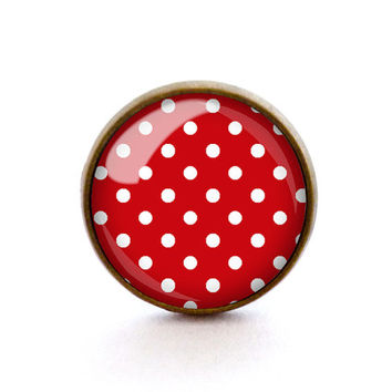 Polka dot ring, Red jewelry, Cute jewellery, Pop Art, Vintage bronze ring, Adjustable, by The Neverland