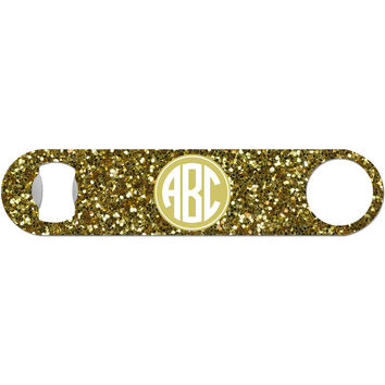Gold Glitter Monogram - Personalized Bottle Opener