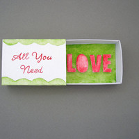 Miniature art, paper diorama, all you need is love, matchbox art, boyfriend gift, girlfriend gift, paper art