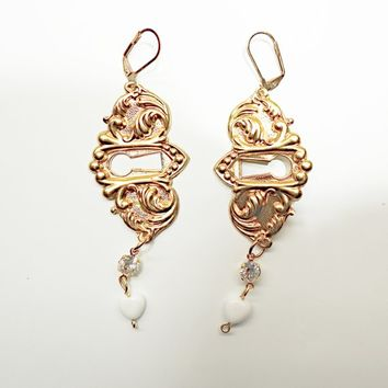 Vintage style dangle earrings chandelier leverback antique keyhole upcycled jewelry lever back gold pierced Handmade unique  boho very long