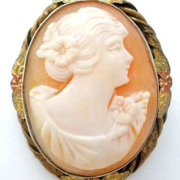 Hand Carved Cameo Gold Filled Brooch Pin