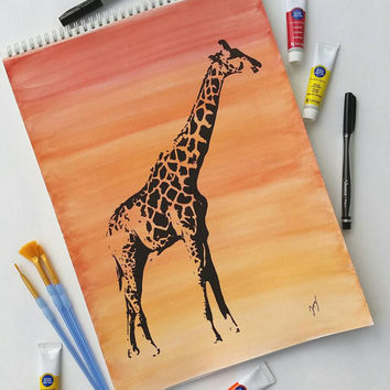 Giraffe decor - watercolor background - giraffe drawing - ombre decor - animal art - bright home decor - watercolor and ink art - zoo decor