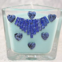 Glass Triangle With  Mini LAPIS LIZULI Fan Collar and SODALITE Hearts Soy Wax Candle