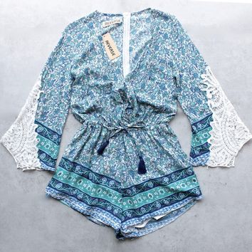 Reverse   Aqua Blue Boho Print Romper With Crochet Lace Bell Sleeves   Blue