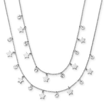 Sterling Silver Stars And CZ Long Layered Necklace