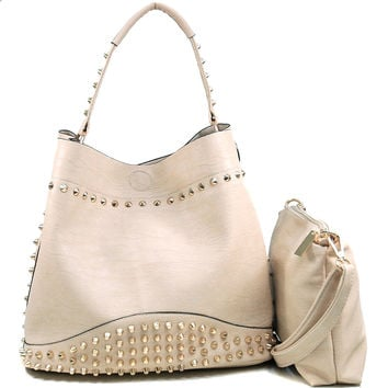 Women's Studded 2-in-1 Fashion Hobo Bag w/ Bonus Strap & Suede Interior - Beige Color: Beige