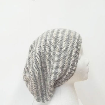Knitted slouch hat gray and light tan small stripe slouchy beanie hat, hand knitted  5191