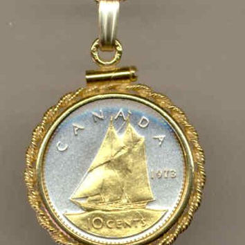 Gorgeous 2-Toned Gold on Silver Canadian Bluenose Sail boat,  Coin Necklaces