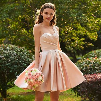 One shoulder bridesmaid dress pink sleeveless knee length a line gown party short bridesmaid dresses