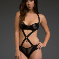 Strappy Mesh Illusion Teddy