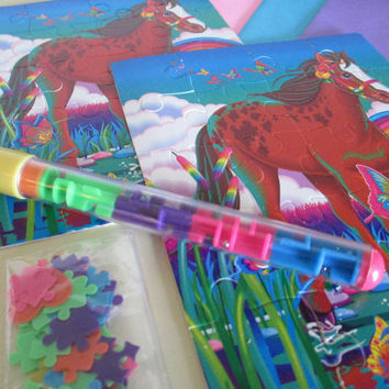 Vintage Lisa Frank Puzzle Notes Stationery Rainbow Chaser Pen Confetti Card