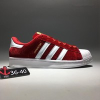 """Adidas Superstar"" Women Casual Classic Fashion Velvet Stripe Shell Head Plate Shoes Sneakers"