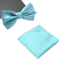 Mens Matching Turquoise Blue Bow Tie and Handkerchief Gift Set