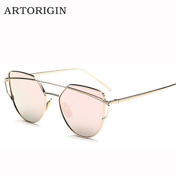 Newest Cat Eye Sunglasses Women Brand Designer Twin-Beams Sun Glasses Reflective Mirror Sunglasses Flat Panel Love Punch AT009