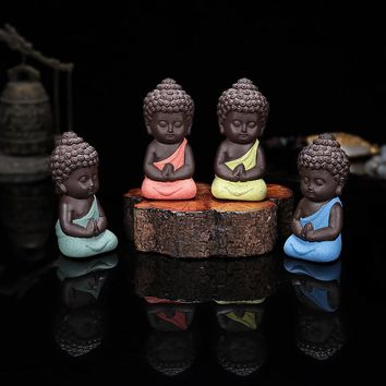 Small Buddha Statue Monk Figurine India Mandala Tea Ceramic Crafts Home Decorative Ornaments Miniatures