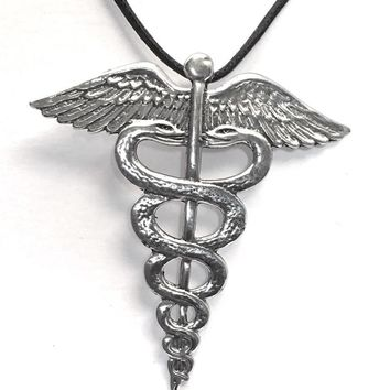 Medicine Symbol Caduceus Protection From Illness Talisman Amulet Pewter Necklace