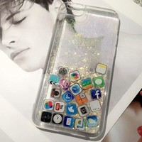 Social Media Glitter Dynamic Liquid Gold Silver Quicksand Instagram Facebook Youtube Twitter Snapchat Case